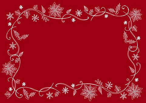 Christmas plant frame red