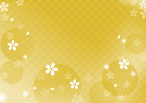 Cherry blossoms and gold background