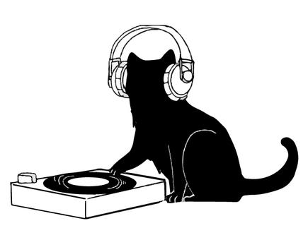 Black cat silhouette DJ