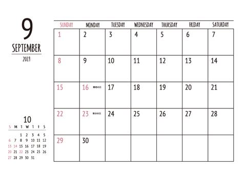 2019 Calendar September A4