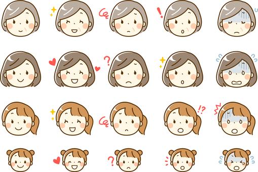Nữ ở mỗi độ tuổi _ Biểu cảm khuôn mặt với nhiều hình đại diện trang trí khác nhau