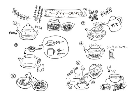 One cup of herb tea (line drawing)