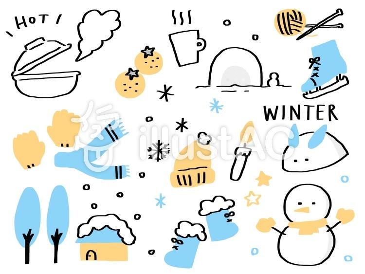 冬素材セットイラスト可愛い手描きイラスト No 1254448無料