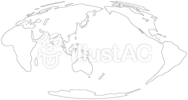 モルワイデ図法白世界地図-単純化角丸のイラスト