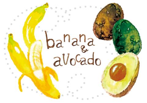 《水彩風格》香蕉鱷梨