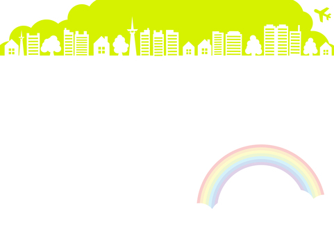 Landscape frame frame green of sky and plane and rainbow and building