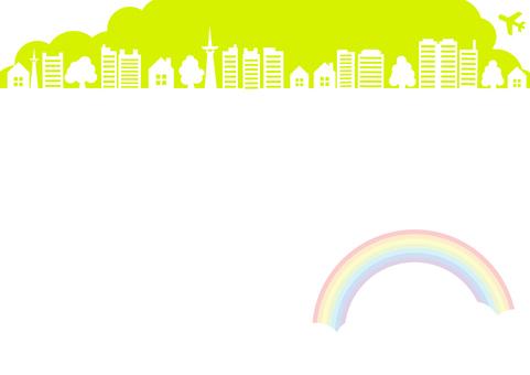 하늘과 비행기와 무지개와 빌딩의 풍경 프레임 프레임 녹색