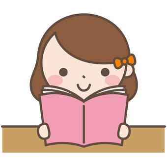 Girls 5 Reading reading cartoons books