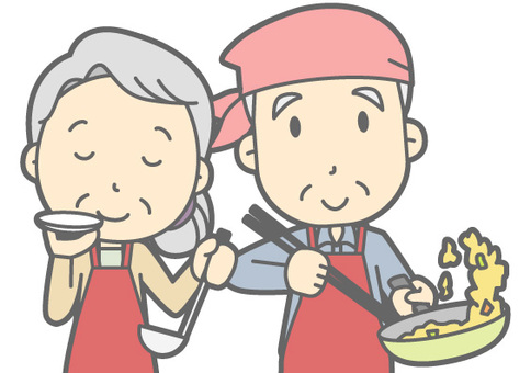 Elderly couple - Food - Bust