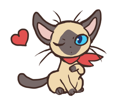 Siamese cat boy _ heart