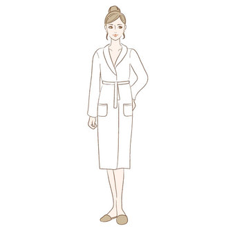 A woman in a bathrobe
