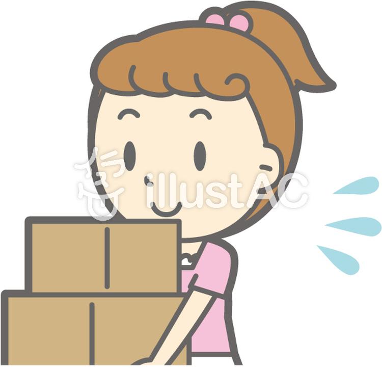 女の子半袖a-荷物運び-バストのイラスト
