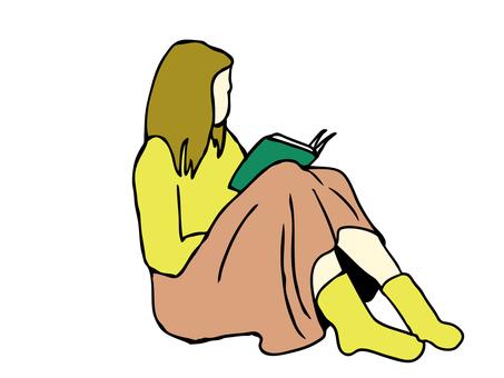Person illustration Woman reading