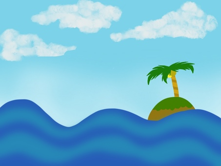 Island floating in the sea