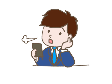 A salaryman looking at a smartphone