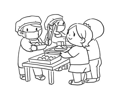[Black and white] School lunch and children [Line drawing]