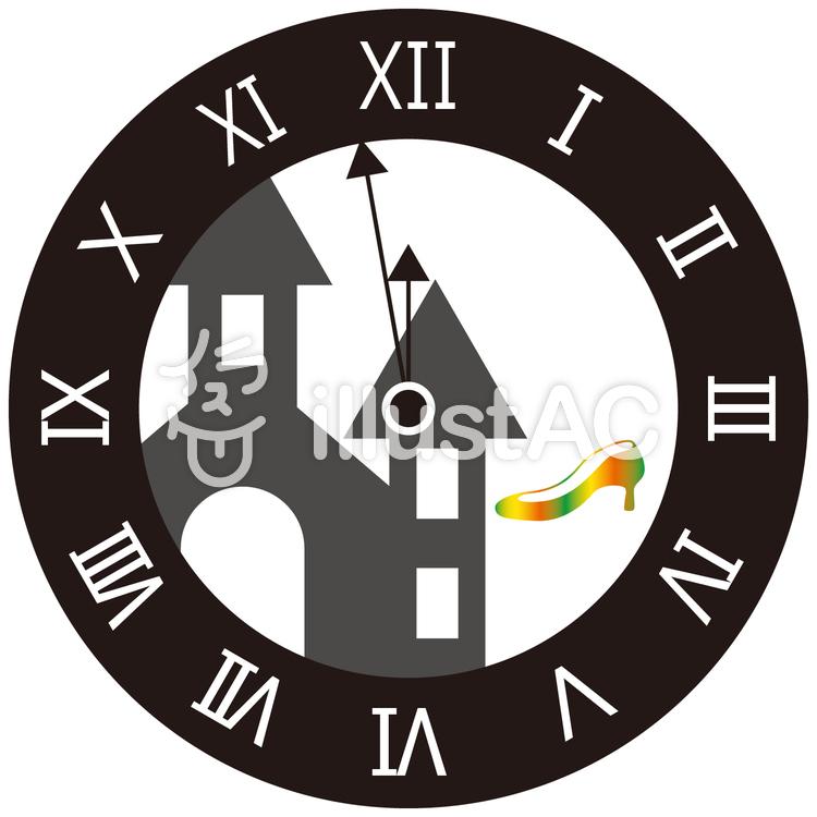 シンデレラ風の時計のイラスト