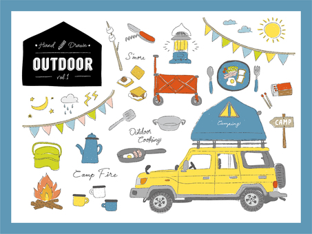Handwritten outdoor camp illustration set