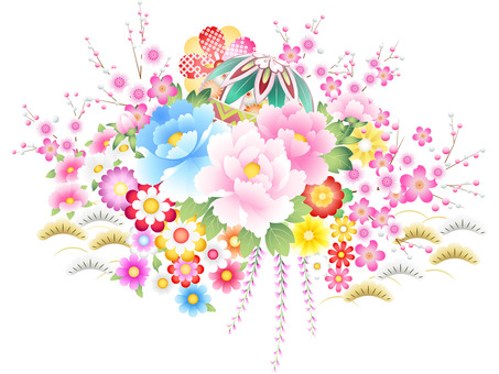 Japanese style peony · cherry tree · chrysanthemum · plum · ball icon set