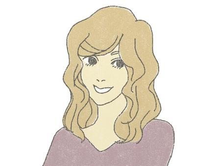 여성 - 미소
