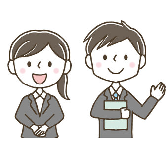 Cute business man to guide / hand drawn