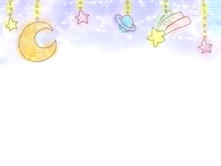 Hand-painted watercolor Yumekawa star garland frame