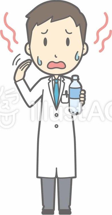 青年医師-暑い-全身のイラスト