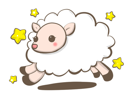 Running sheep with stars