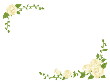 Diagonal frame of white rose · Decorative frame 02