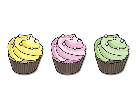 カップケーキ3色