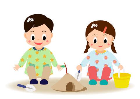 Children playing in the sand kindergarten nursery school