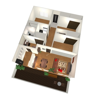 3LDK Floor plan ④ (3D solid / bird's-eye view)