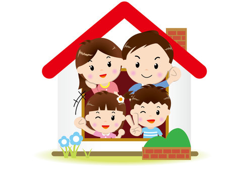 Family 4 people _ house