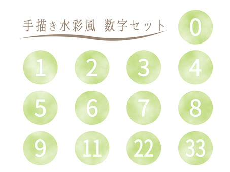 Hand drawn watercolor style numbers set green / green