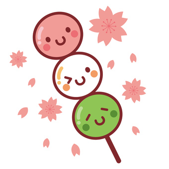 Cute three-color dumpling character cherry background