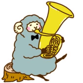 Sheep that blows a tuba
