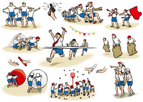 Athletic illustration set