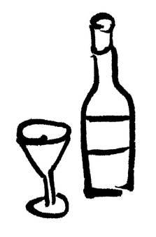 Wine bottle + glass