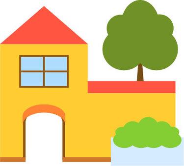 植木のある家