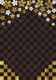Sakura_Gold leaf_Black lattice_Vertical type 2421