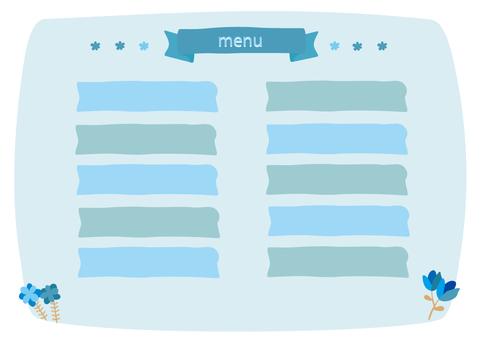 咖啡廳菜單藍色