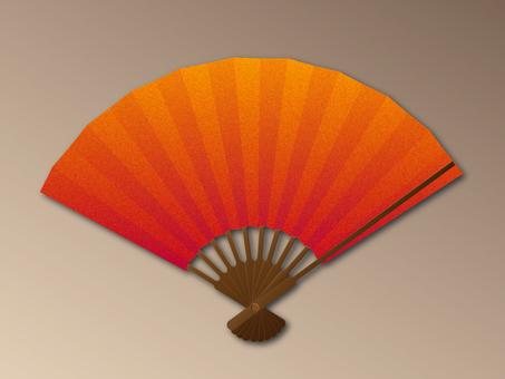 Folding fan red gold