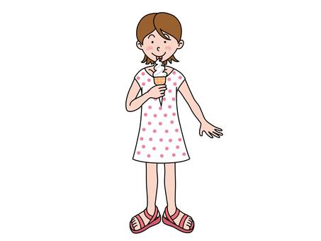 A girl who eats a soft cream
