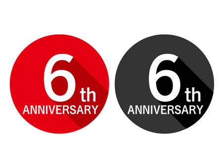 Anniversary label 6th anniversary 6th