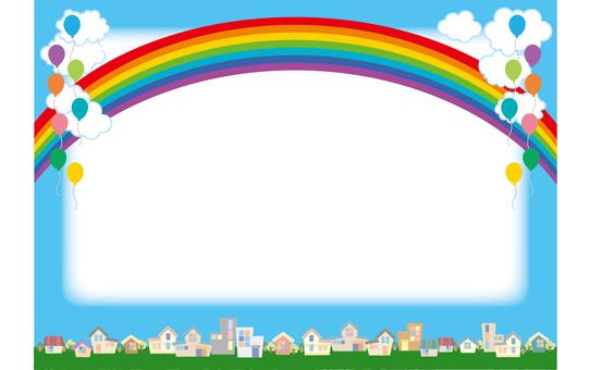城鎮和雲彩和氣球