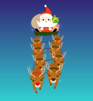 Reindeer drawing Santa's sled
