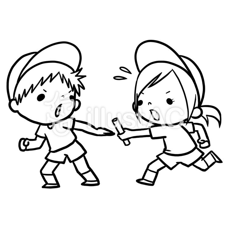 運動会駆けっこバトンパス男女線画塗り絵イラスト No 864853無料