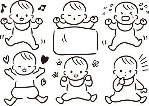 Baby handwriting style illustration