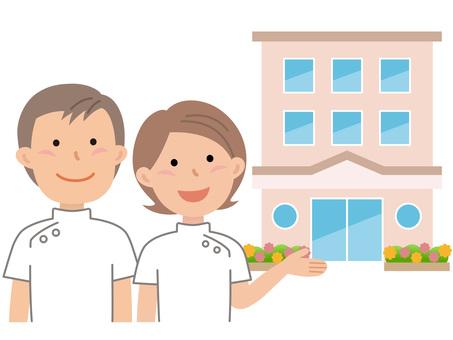 61014. Long-term care facility, male and female caregiver 2