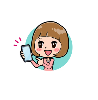 Pink clothes young woman icon smartphone